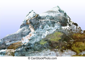 Abstract mountain landscape with trail, peaks covered with ice and stones
