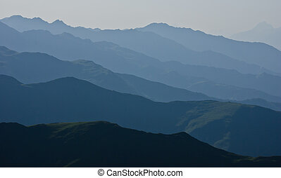 Mountain ranges panorama silhouette in the caucasus mountains