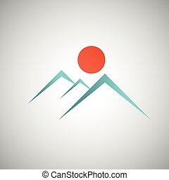 Abstract mountain with the sun on background