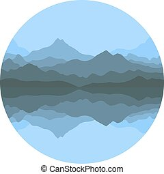 Abstract mountains in a lake in the fog. Vector illustration