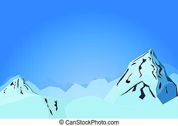 Abstract mountains vector landscape illustration with hills and two peaks. Shallow depth of field imitation within natural mountain panorama.