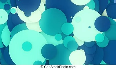 Abstract moving circles in blue and white colors