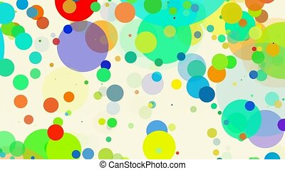 Abstract moving circles in various colors on white