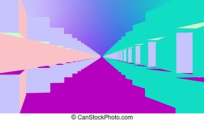 Abstract moving colorful corridor
