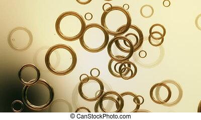 Abstract moving golden circles