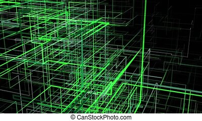 Abstract moving green grid