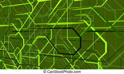 Abstract moving grid in green color