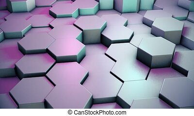 Abstract moving hexagon background. 4 K