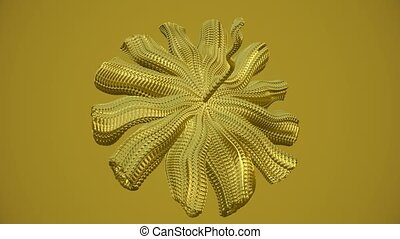 Abstract moving object with tentacles in golden color