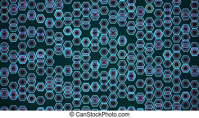 Abstract moving polygons in blue