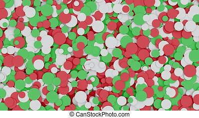 Abstract moving red white and green circles