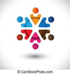 Abstract multi-color people icons in circle- vector graphic....