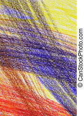 Abstract multi-coloured crayon drawing