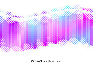 Abstract multicolor halftone waves