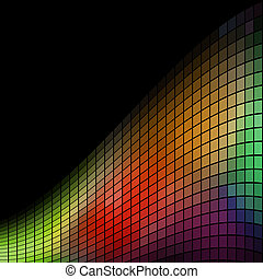 Abstract multicolor mosaic wave background with black copy space.