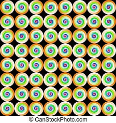 Abstract multicolor tile pattern, Colorful circles or rings on black background, Tiled texture, Seamless illustration
