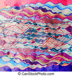 Abstract multicolored background with different wavy...