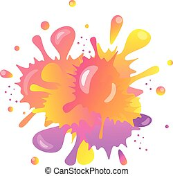 Abstract multicolored blot with highlights. Scenic stains spilled and mixed paint. Dirty art. Element for the decoration of backgrounds. Funny spray multicolored paint. Vector