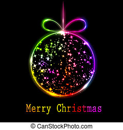 Abstract multicolored Christmas ball on black background