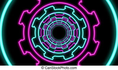 """Abstract Multicolored Cogwheel Shaped Tunnel"""