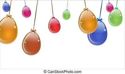abstract multicolored easter eggs hanging on white background