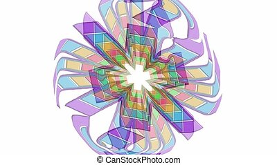 Abstract multicolored flower shape in rotation, pastel ...