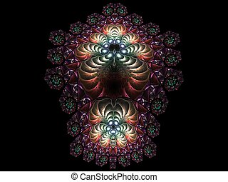 Abstract multicolored fractal pattern. Computer generated graphics.