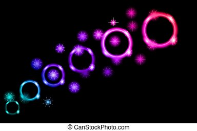 Abstract, multicolored, neon, bright, glowing circles, balls, bubbles, planets with stars on a black background of space. The background. Vector illustration.