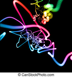 abstract multicolored neon lines in perspective background