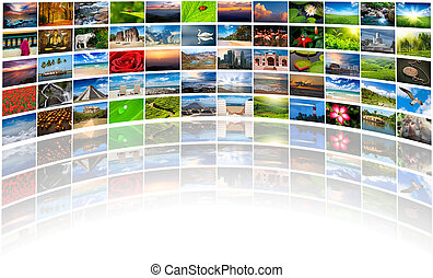 Abstract multimedia background composed of many images with...