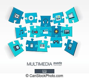 Abstract multimedia background with connected color puzzles, integrated flat icons. 3d infographic concept with technology, Digital, music, film, gaming, pieces in perspective. Vector illustration.