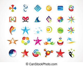 abstract multiple business icons vector illustration