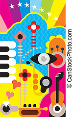 Abstract Music Art - Abstract music art background. Color...