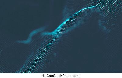 Music background. Big Data Particle Flow Visualisation. Science infographic futuristic illustration. Sound wave.