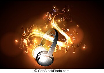Abstract music background headphones
