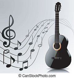 Abstract music background with guitar and notes
