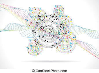 abstract music background with musical notes on white