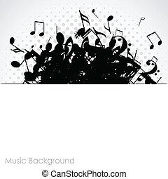 Abstract music background with notes, vector