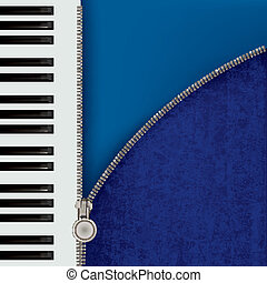 abstract music background with piano and zipper