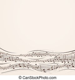 Abstract Music Background with Random Note