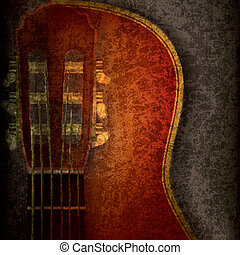 abstract music grunge background with acoustic guitar on...