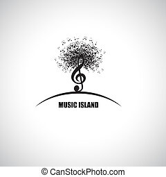 Music Island - Abstract Music Island with Treble Clef and...