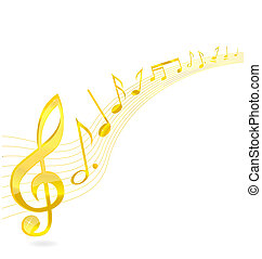 abstract music key sign gold color
