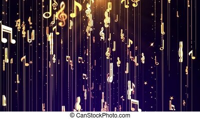 Abstract Music Musical note symbols loop 4K background spiral helical path. notes and clefs for artistic music clip, concert, titles, slides show, portfolio, presentation, screen saver Animation.