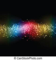 Abstract music notes - Abstract background with colourful...