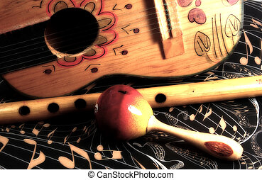 Abstract Music - Photo of a Ukulele and various instruments...