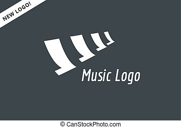 Abstract music piano keys logo icon. Melody, classic, note symbol or paper, book, song. Design element. Isolated on white.