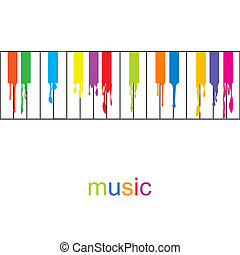 Abstract music poster. Colored piano with flowing keys
