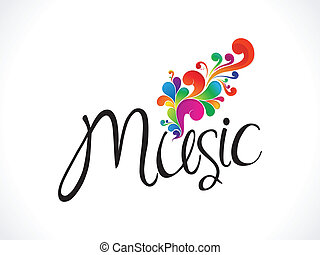 abstract music text with floral