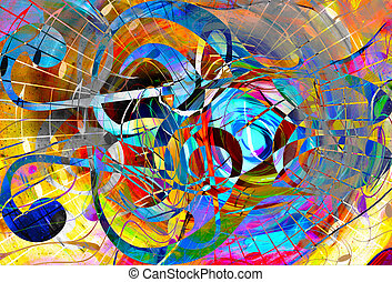 abstract music theme background with clef, modern design. - ...